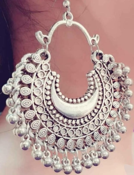 Earrings - Silver Hoop Earrings with dangling tassels [SoldOut]