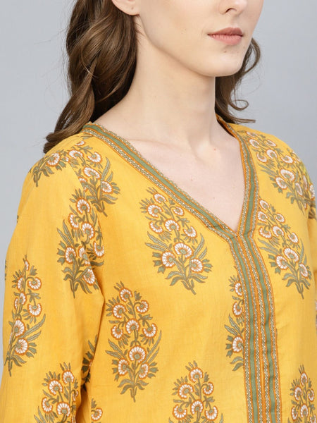 [Sold Out] Yellow Floral Printed Kurta & Skirt Set
