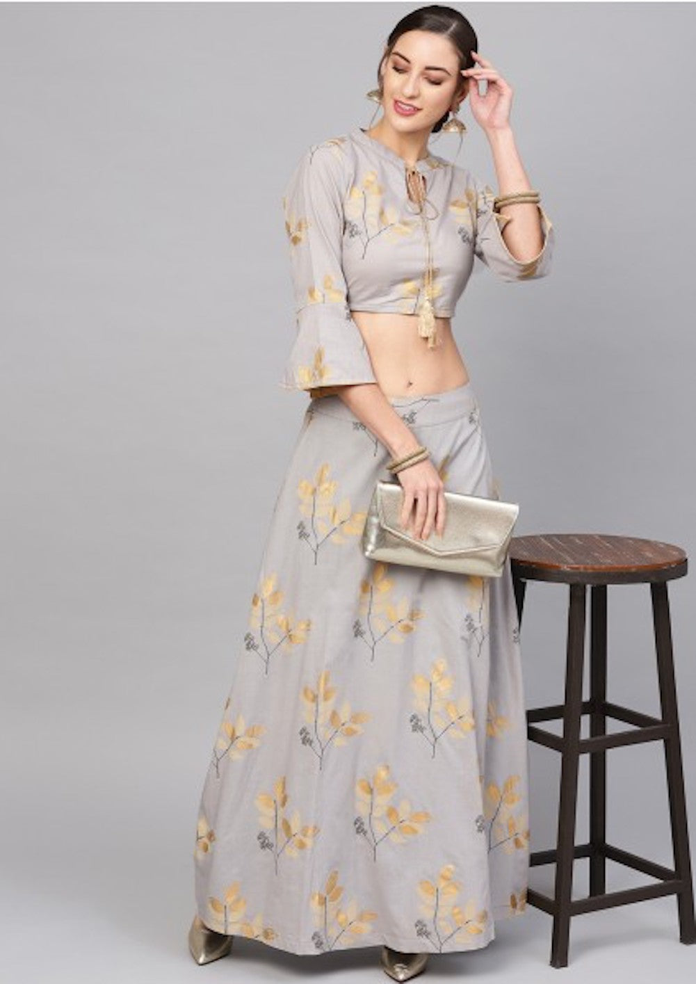 Grey Gold Printed Lehenga With Blouse [Pre-Order]