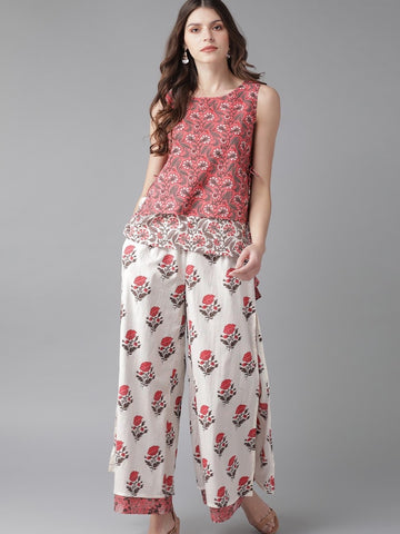 [Available] Pink & White Floral Printed Top with Palazzo Pants - Last Piece