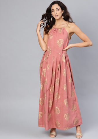[SoldOut] Pink and Gold Maxi Dress with Drawstring