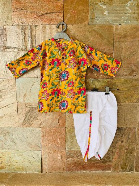 Boys Printed Yellow Kurta with White Dhoti Pants Set