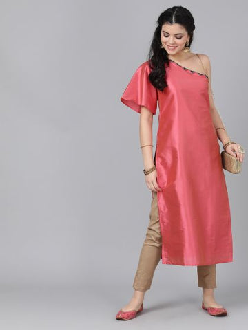 [Available] Premium Pink One Shoulder Silk Kurta