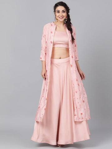 [Available] Premium Pink Lengha with Jacket [crop top and skirt]