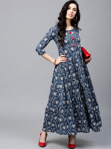 [Available] Blue Printed Long Kurta with Red Tassels