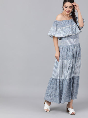 [Available] Blue Off-Shoulder Dress