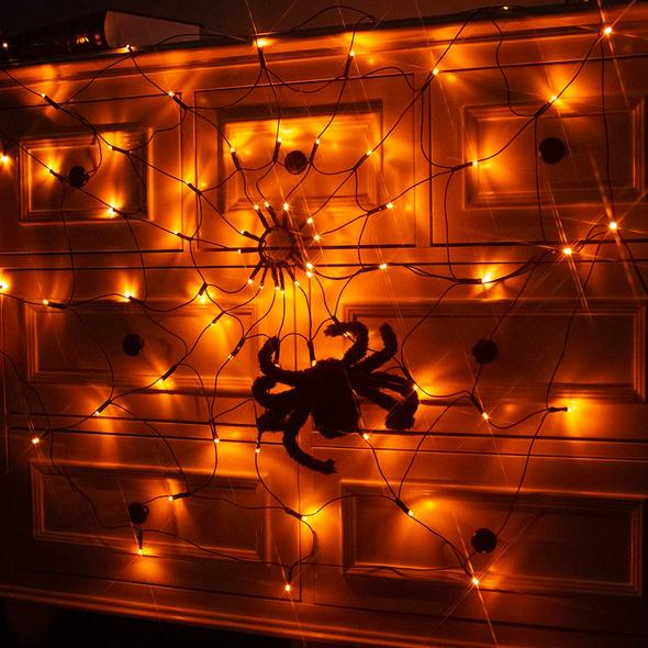 Halloween Decor Spider Web Orange Lights