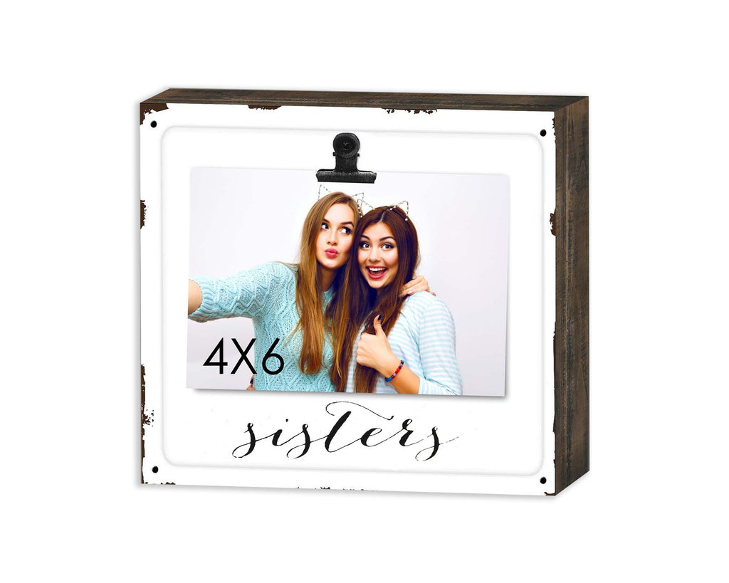 WOODEN BLOCK W METAL FACE & CLIP SISTERS FRAME