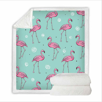 Soft Flamingo Print Blanket