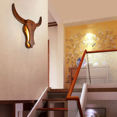 Wood Bull Wall Lamp