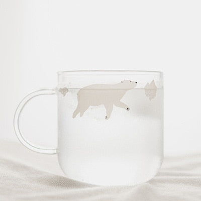 Swimming Polar Bear and Penguin Glass