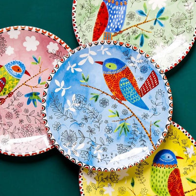 Colorful Floral Bird Plate