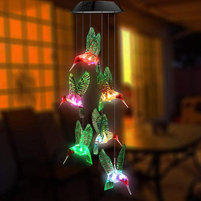 Hummingbird Solar Lamp and Wind Chime