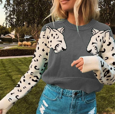 Casual Leopard Sleeve Sweater