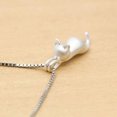 Sterling Silver Necklace with Cat Pendant