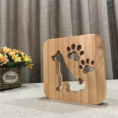 LED Wooden Dog Lamp
