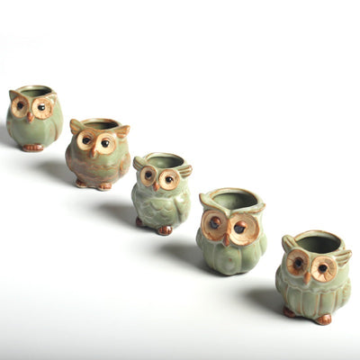 Handmade Ceramic Owl Pots 5 Pcs/set