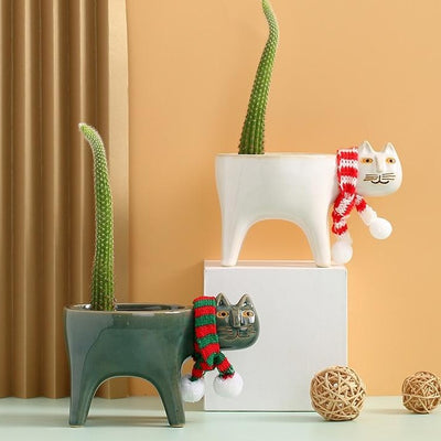 Funny Cat Ceramic Pot
