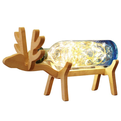 Wooden Elk Bottle Lamp