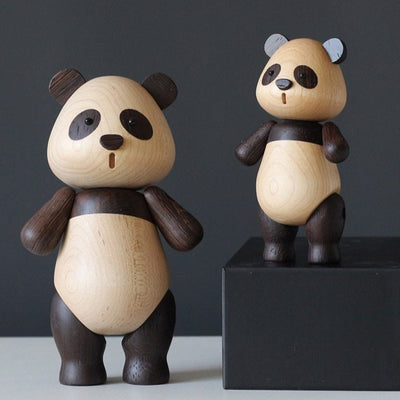 Wooden Panda Figurine Display