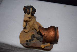 "Hand Painted Puppy Figurine  ""Trouble"""