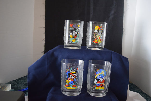 Set of 4 Disney 2000 Commemorative McDonald's collectible glasses