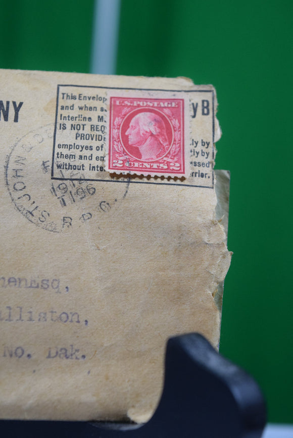 1914 George Washington 2 cent stamp and telegram