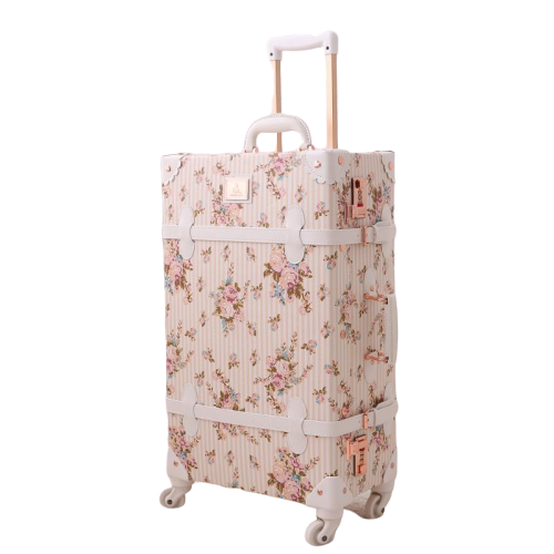 Retro Floral Trolley Luggage