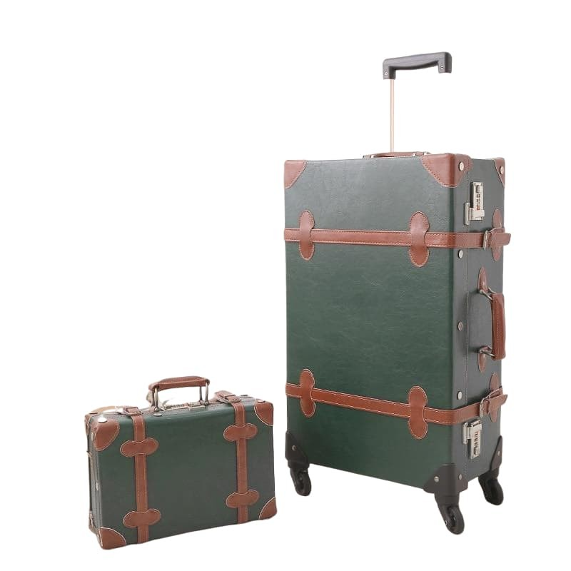 Dark Green Vintage Rolling Luggage
