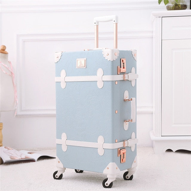 Light Blue Retro Rolling Luggage