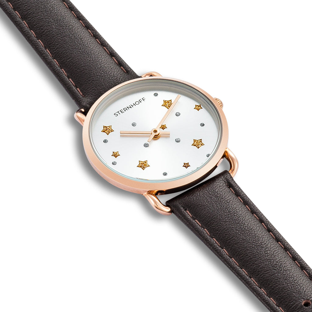 Ladies watch brown rosé gold