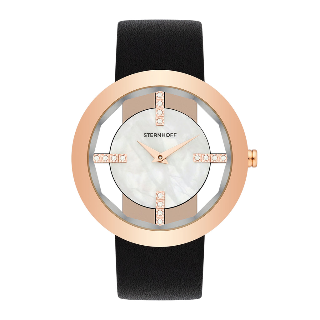 Ladies watch black rosé gold