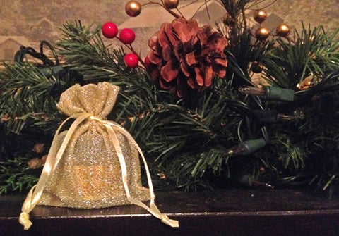 stocking stuffer gift bag that adds sparkle to your mantle