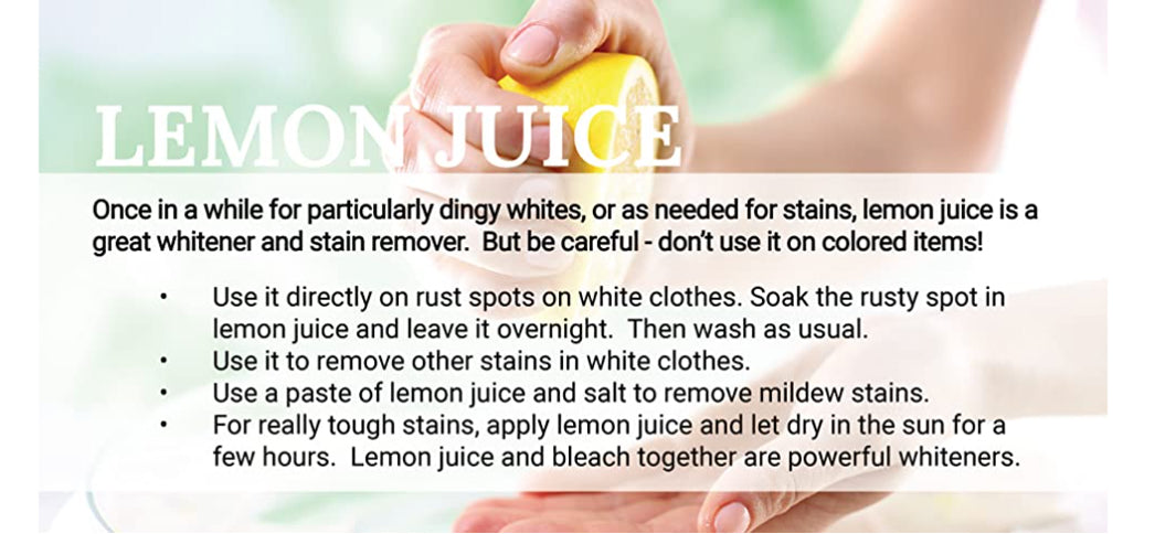 Using Lemon Juice in the laundry - Natural Laundering Tips