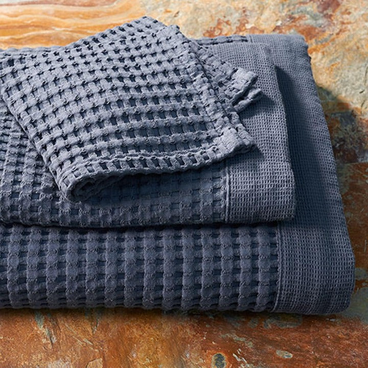 Gilden Tree | Waffle Bath Towels | Midnight Blue Wash Cloth