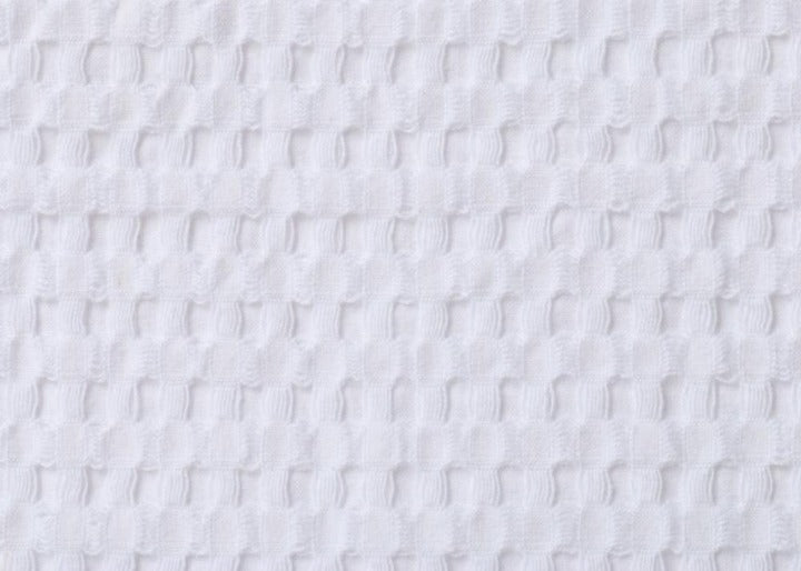 Waffle Bath Mat closeup of White fabric texture
