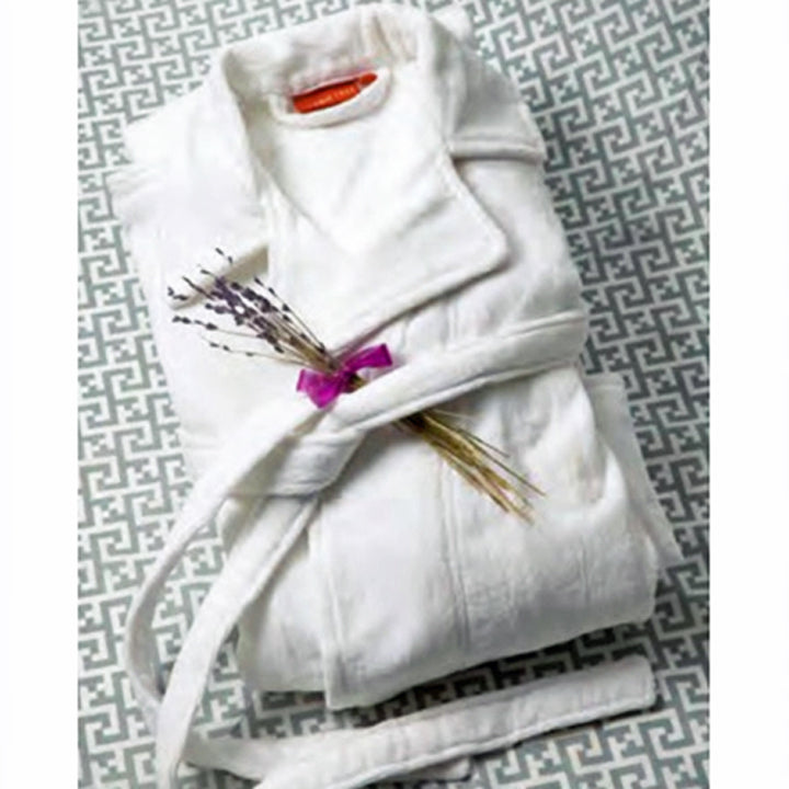 Gilden Tree | Velour Bathrobe | White Cotton, ankle-length, S/M - XXL