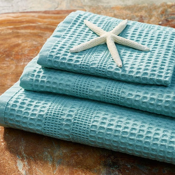 Gilden Tree | Waffle Bath Towels | Seafoam Wash Cloth