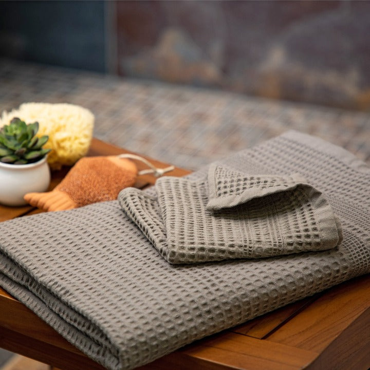 Gilden Tree | Waffle Bath Towels | Stone Bath Towel