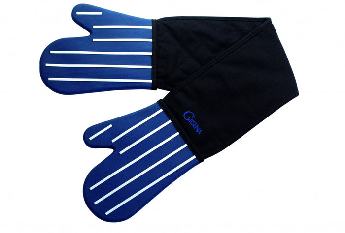 CUISENA Silicone/ Fabric Double Oven Glove - Butchers Stripe