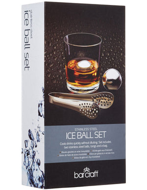 BARCRAFT BC Ice Ball Set 3pc Stainless Steel Gift Boxed