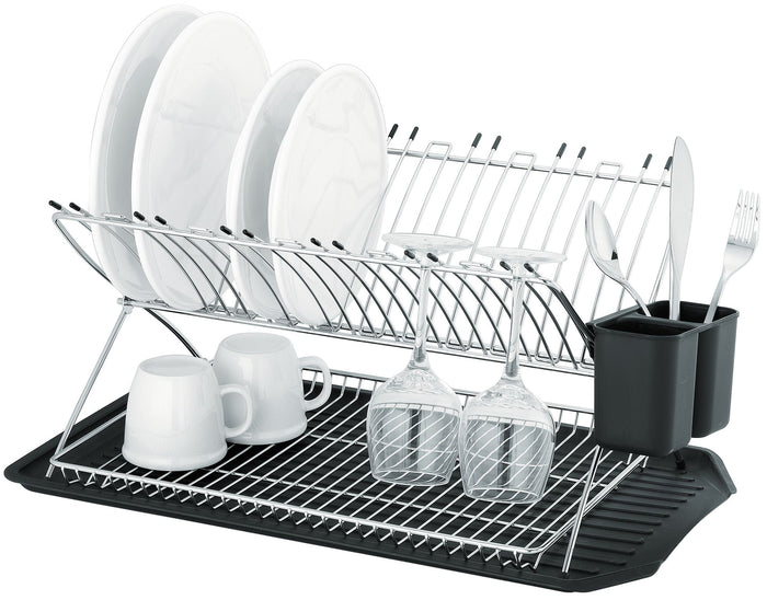 AVANTI Inox Reno X Profile Two Tier Dish Rack with Black Tray and Cutlery Holder