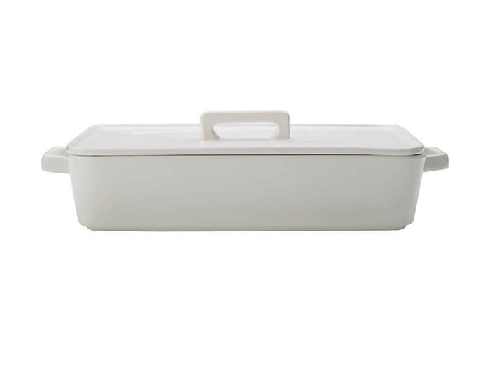 MAXWELL & WILLIAMS MW Epicurious Rectangular Baker with Lid 32x22.5x7cm White Gift Boxed