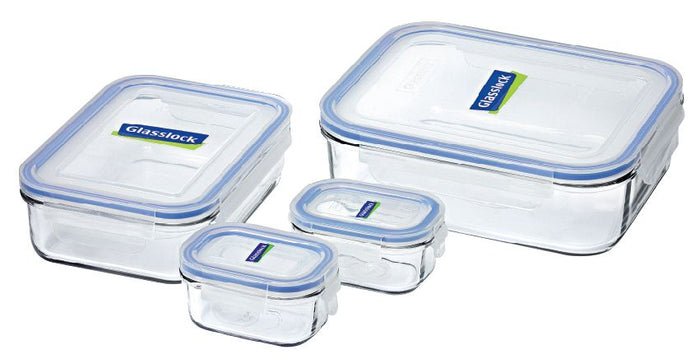GLASSLOCK 4 Piece Tempered Glass Food Container Set