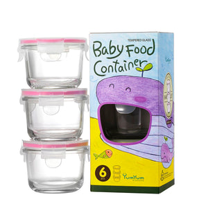 GLASSLOCK 3 Piece Baby Food Container Set Round 165ml