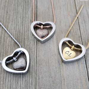 Custom Fingerprint Cremation Urn Heart Necklace,  Engraving Memorial Jewelry Keepsake for Human and Pets Ashes - Anavia Personalized Jewelry & Gifts