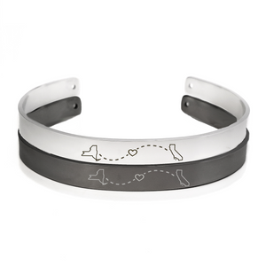 Long Distance Bracelet Men Cuff Bangle Anniversary Gift - Anavia Personalized Jewelry & Gifts