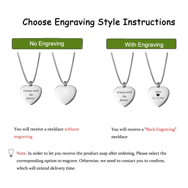 Engraving Blank Heart Cremation Urn Necklace, Memorial Ashes Holder Keepsakes for Human - Anavia Memorial Jewelry