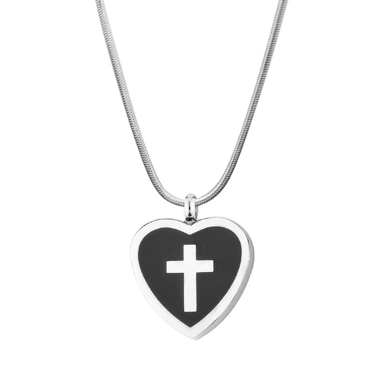 Custom Urn Necklace Cross Pendant, Cremation for Ashes Keepsake Memorial Necklace - Anavia Personalized Jewelry & Gifts