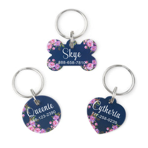 French Flowers Pet ID Cat Dog Tags - Anavia Personalized Jewelry & Gifts